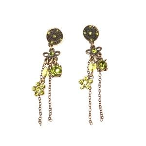 Antique Gold and Green Flower Dangle Earrings